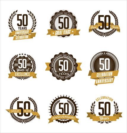 Vector Set of Retro Anniversary Gold Badges 50th Years Celebrating Çizim