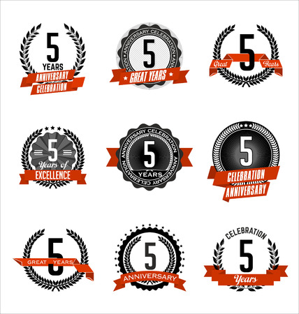 5th: Vector Set of Retro Anniversary Badge Black and Red 5th Years Celebration