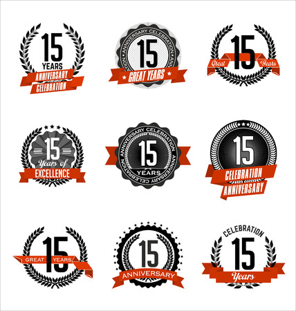 badge with ribbon: Vector Set of Retro Anniversary Badge Black and Red 15th Years Celebration Illustration