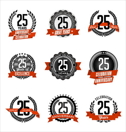 Vector Set of Retro Anniversary Badge Black and Red 25th Years Celebration Иллюстрация