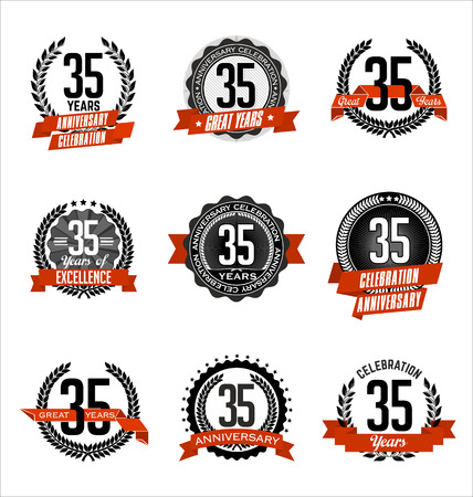 Vector Set of Retro Anniversary Badge Black and Red 35th Years Celebration