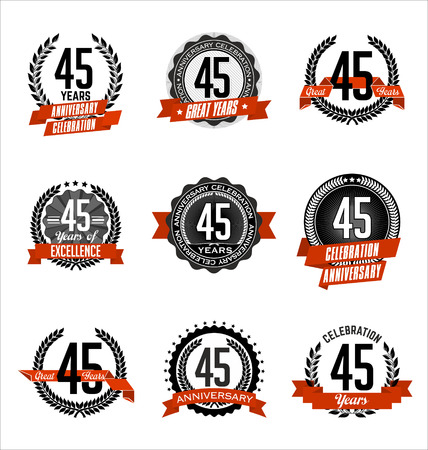 45th: Vector Set of Retro Anniversary Badge Black and Red 45th Years Celebration