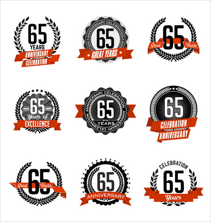 65th: Vector Set of Retro Anniversary Badge Black and Red 65th Years Celebration