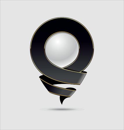 location icon: 3D Location Icon. Black Color