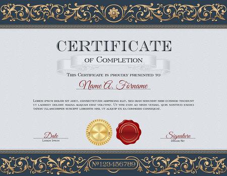 Vintage Certificate of Completion. Royal Dark Blue and Gold Ornaments Illustration