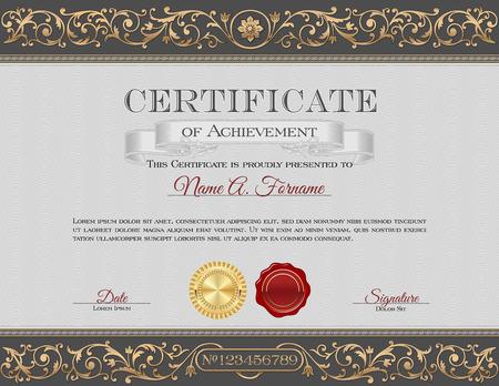 reconocimiento: Certificado de la vendimia de Logro. Gray y oro Adornos