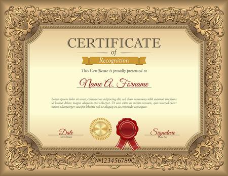 grado: Certificado de la vendimia de la plantilla de reconocimiento con el marco del ornamento Vectores