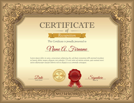 Vintage Certificate of Recognition Template with Ornament Frame