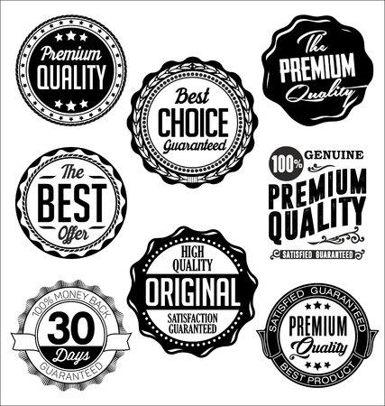 badge vector: Set of Vintage Badges. Black on White Background