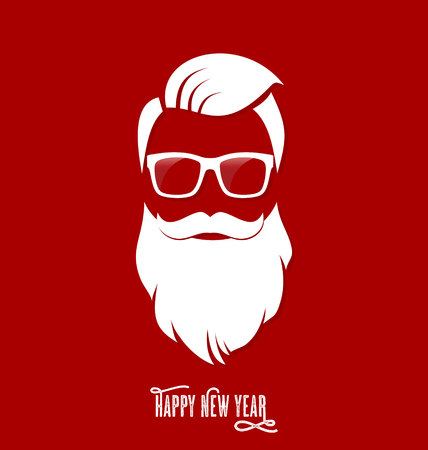 claus: Hipster Santa Claus, Party, Greeting Card, Banner, Sticker, Hipster Style. Hipster Haircut.