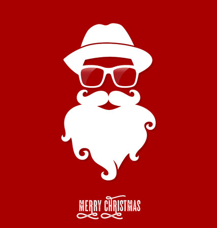 famous people: Hipster Santa Claus, Party, Greeting Card, Banner, Sticker, Hipster Style. Beard.