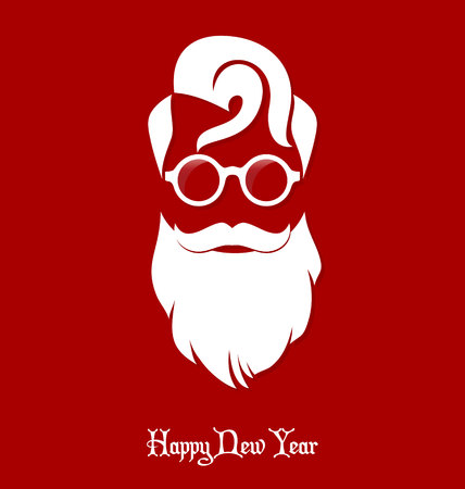 Hipster Santa Claus, Party, Greeting Card, Banner, Sticker, Hipster Style. Rounded Eyeglasses. Ilustrace