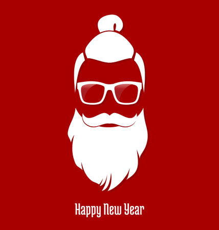 Hipster Santa Claus, Party, Greeting Card, Banner, Sticker, Hipster Style. Man Bun Hairstyle.