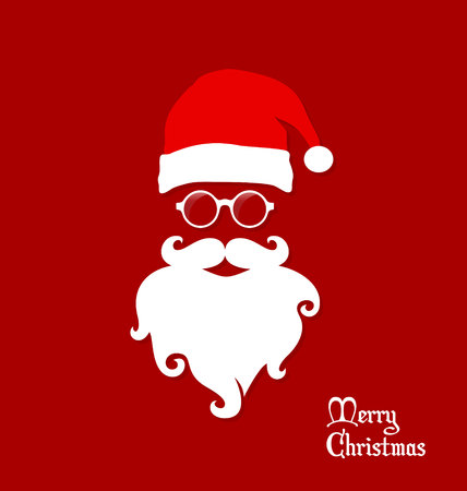 Hipster Santa Claus, Party, Greeting Card, Banner, Sticker, Hipster Style. Santa Round Eyeglasses.