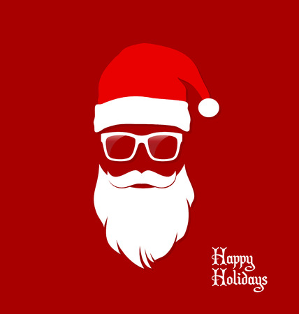 Hipster Santa Claus, Party, Greeting Card, Banner, Sticker, Hipster Style. Santa Geek. 向量圖像