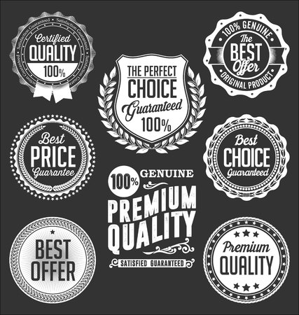 special edition: Collection of White Badges on a Black Background,  Premium Quality Illustration
