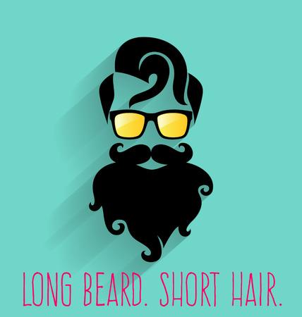 Hipster. Long Beard. Illustration