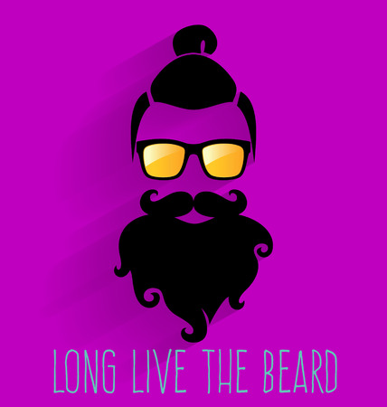 topknot: Hipster. Long Live The Beard. Illustration