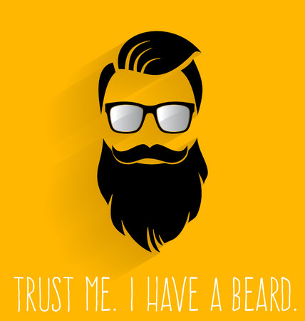 beard man: Hipster. I Have A Beard. Illustration