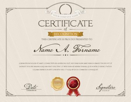 Certificate of Recognition with Laurel Wreath. Elegant Frame. Beige