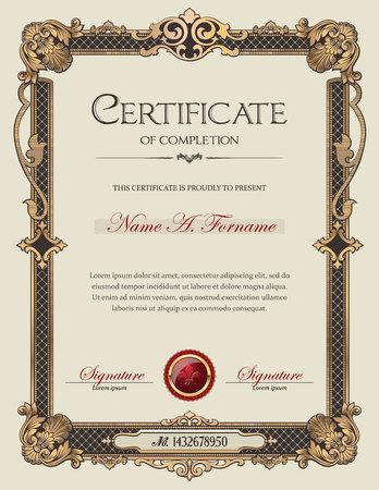 certificado: Certificado de Finalizaci�n del retrato con marco antiguo ornamento de la vendimia Vectores