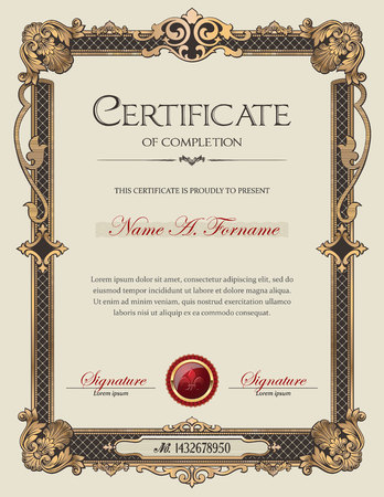 Certificate of Completion Portrait with Antique Vintage Ornament Frame Stock Vector - 49846996