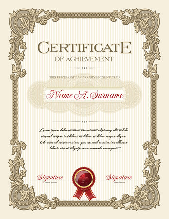 Certificate of Achievement Portrait with Floral Ornament Vintage Frame