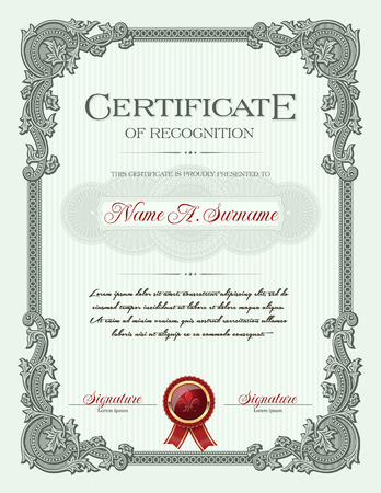 Certificate of Recognition Portrait with Floral Ornament Vintage Frame