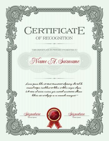 reconocimiento: Certificado de Reconocimiento del retrato con el ornamento floral Marco de la vendimia