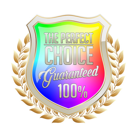 Rainbow Gold and White Badge on White Background. Perfect Choice.