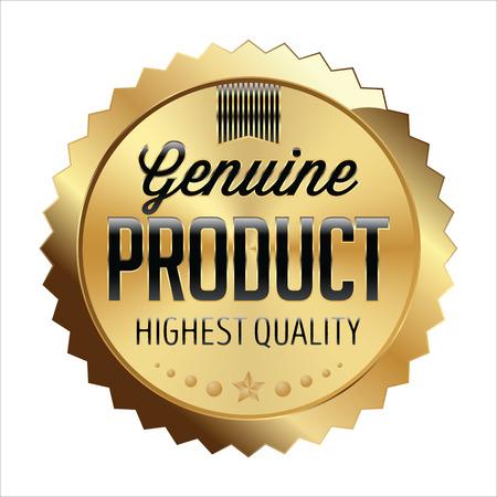 silver ribbon: Gold and Black Shiny Luxury Badge on White Background. Genuine Product. Illustration