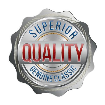 Badge. Argento di lusso con dettagli in oro, rosso e blu marino. Qualità superiore. Archivio Fotografico - 49847117
