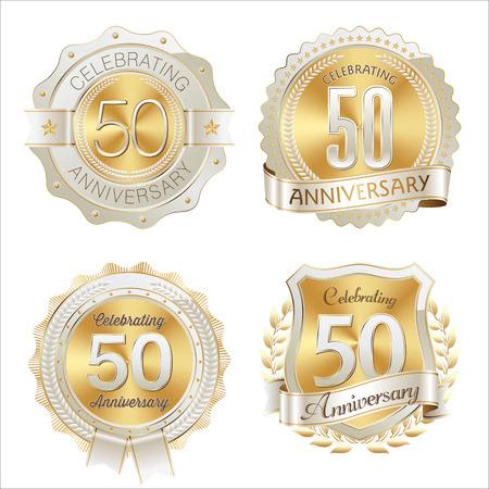 Gold and White Anniversary Badge 50th Years Celebrating