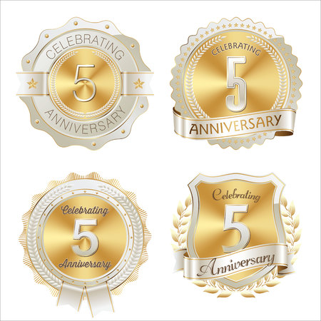5th: Gold and White Anniversary Badge 5th Years Celebrating