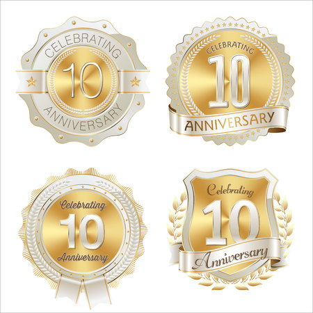 Gold and White Anniversary Badge 10th Years Celebrating Иллюстрация