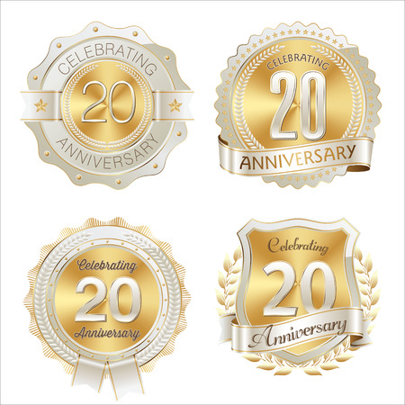 20th: Gold and White Anniversary Badge 20th Years Celebrating