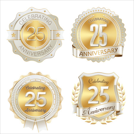 25th: Gold and White Anniversary Badge 25th Years Celebrating Illustration