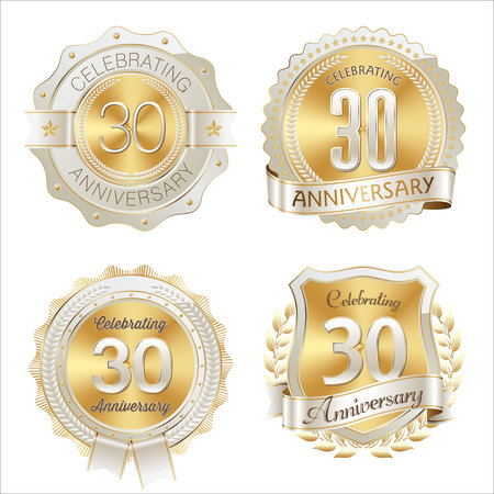 Gold and White Anniversary Badge 30th Years Celebrating