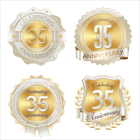 35th: Gold and White Anniversary Badge 35th Years Celebrating