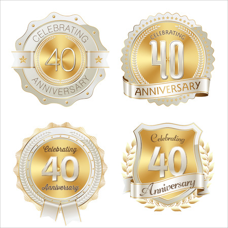 Gold and White Anniversary Badge 40th Years Celebrating 版權商用圖片 - 49850387