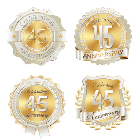 45th: Gold and White Anniversary Badge 45th Years Celebrating