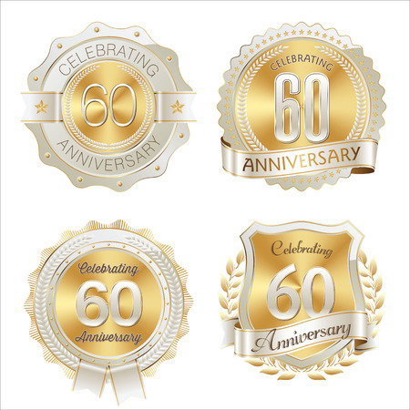 60th: Gold and White Anniversary Badge 60th Years Celebrating