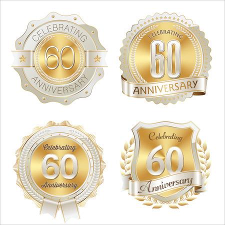 Gold and White Anniversary Badge 60th Years Celebrating 版權商用圖片 - 49850389