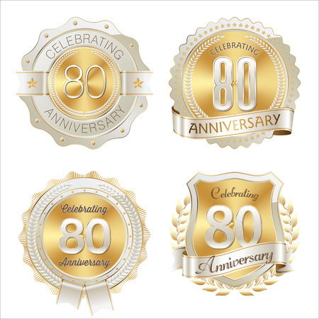 80th: Gold and White Anniversary Badge  80th Years Celebrating Illustration