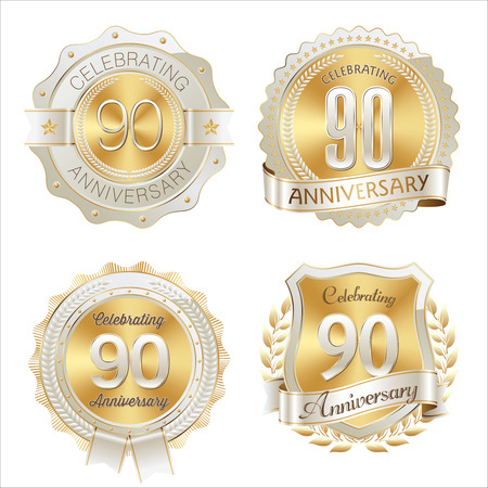 90th: Gold and White Anniversary Badge 90th Years Celebrating