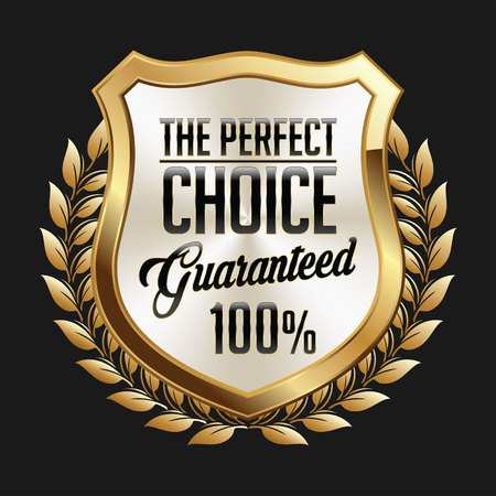quality guarantee: Gold and White Badge on Black Background. Perfect Choice. Illustration