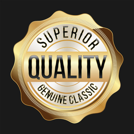 best quality: Gold and White Badge on Black Background. Superior Quality. Illustration