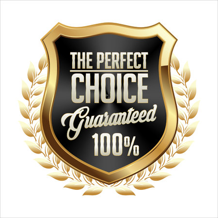 art product: Gold and Black Badge on White Background. Perfect Choice. Illustration