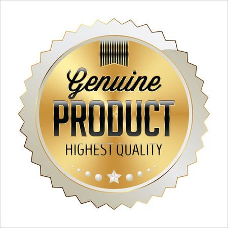 Badge Gold with White and Black. Shiny Luxury Badge on White Background. Genuine Product. Stock Illustratie