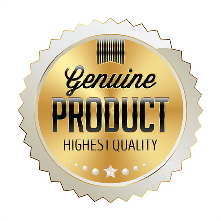Badge Gold with White and Black. Shiny Luxury Badge on White Background. Genuine Product. Vettoriali